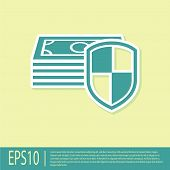 Green Money Protection Icon On Yellow Background. Financial Security, Bank Account Protection, Fraud poster