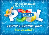 Vector Bright And Fun Advertising Poster Template For Pool Party. Colorful Swimming Ring, Beach Ball poster