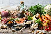 Balanced Nutrition Concept For Clean Eating Flexitarian Mediterranean Diet. Assortment Of Healthy Fo poster