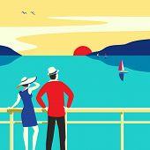 Hand Drawn Travel On Cruise Ocean Liner Vector. Seaside Landscape Poster. Blue Ocean Scenic View. Ho poster
