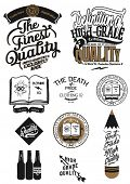 Vintage Retro Styled Premium Quality and Satisfaction Guarantee Label collection with icon sign