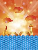 stock photo of chinese new year 2013  - Chinese New Year of the Water Snake 2013 with Water Sky Clouds and Sun Rays Background Illustration - JPG