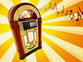 stock photo of jukebox  - A illustration of years 50 jukebox on abstract background - JPG