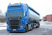 pic of big-rig  - Blue tanker truck with motion blur added to background - JPG