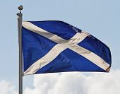stock photo of braveheart  - the blue and white cross of st andrew the national flag of scotland ripples in the wind on flagpole - JPG