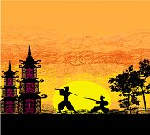 Silhouette Illustration Of Two Ninjas In Duel