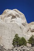 stock photo of mount rushmore national memorial  - Face of Thomas Jefferson Mount Rushmore National Memorial Black Hills South Dakota - JPG