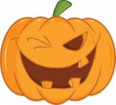 Scary Halloween Pumpkin Winking Cartoon Illustration