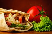 foto of shawarma  - still life with traditional shawarma closeup and fresh vegetables - JPG