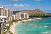 pic of waikiki  - Scenic view of Honolulu city - JPG