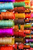 stock photo of charminar  - Bangles for Sale at the Laad Bazaar, Charminar, Hyderabad