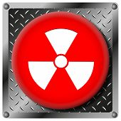 image of radium  - Square icon with white design on red plastic and metallic background - JPG
