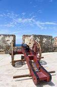 picture of el morro castle  - Historic cannon in El Morro castle in San Juan Puerto Rico - JPG