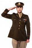 pic of military personnel  - Young military officer saluting national flag over white - JPG