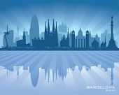 Barcelona Spain City Skyline Vector Silhouette