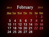 Calendar For The February Of 2014