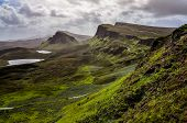 picture of landslide  - Landscape view of Quiraing mountains in Isle of Skye Scottish highlands United Kingdom - JPG