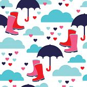 Seamless boots and umbrella rain illustration fabric background pattern set in vector
