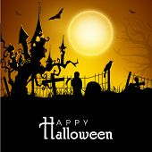 Scary Halloween night background, banner or poster for trick or treat party with haunted house situa