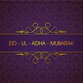 Elegant greeting card or background for celebration of Muslim community festival of sacrifice Eid Ul