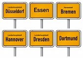City limits signs of six major cities in Germany - Dusseldorf, Essen, Bremen, Hannover, Dresden and