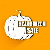 Halloween sale concept with pumpkin on yellow background.