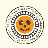 Happy Halloween grungy rubber stamp with ghost and text Halloween Sale.