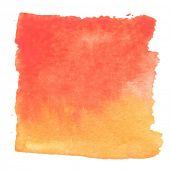 Abstract watercolor art hand paint isolated on white background. Watercolor stains. Square red-orang