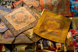 stock photo of pillowcase  - Oriental pillowcases in Front of a Shop - JPG