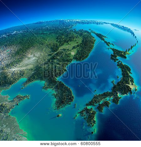 Detailed Earth. Korea And Japan poster