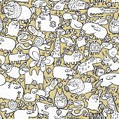 stock photo of jungle snake  - Animals Collage is seamless pattern with doodle drawings of funny animals and objects - JPG