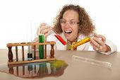 Crazy Woman Scientist With Test Tubes Hold Two