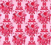 Vase pink fruits seamless (wallpaper)