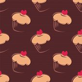 Seamless vector pattern background with big chocolate brown cupcakes, muffins, sweet cake red hearts