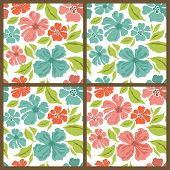 Vector Set. Spring Flowers Patterns.