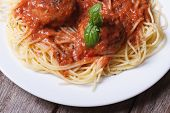 picture of meatball  - Pasta spaghetti with meatballs and tomato sauce on a white plate on a table top view - JPG