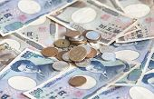 picture of japanese coin  - close up Japanese currency notes and japanese yen coin - JPG