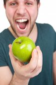Man With Apple And Mouth Open