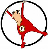 picture of jumpsuits  - This illustration depicts a circus performer in a red jumpsuit spinning in a giant ring - JPG