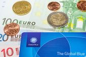 European Euro Bank Notes Cent Coins And Global Blue Card