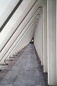 foto of calatrava  - Modern tunnel in futuristic interior with concrete arches in perspective - JPG