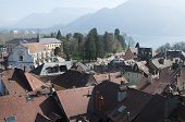 image of annecy  - Large view of Annecy town and roof bordered by Annecy lake France - JPG