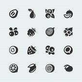 image of passion fruit  - Vector fruits and berries mini icons set  - JPG