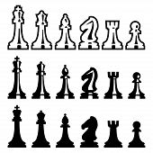 foto of chess pieces  - Vector chess pieces icons set over white - JPG
