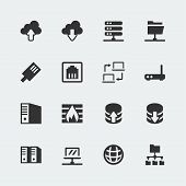 pic of vpn  - Vector network mini icons set on grey background - JPG