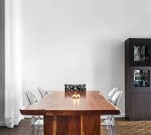 image of buffet  - Modern and Contemporary dining room table and decorations with blank wall for your text image - JPG