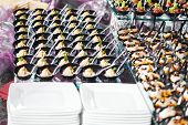 image of catering service  - catering services background with snacks and food in restaurant - JPG