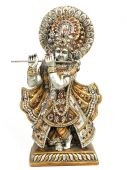 image of lord krishna  - Idol of lord krishna with flute in white background - JPG