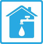 stock photo of spigot  - blue house icon with spigot and drop of water - JPG