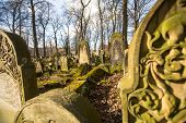 KRAKOW, POLAND - FEB 17, 2013: New Jewish Cemetery in the historic Jewish neighborhood of Kazimierz,
